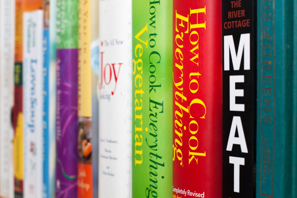 Photo of a stack of cookbooks